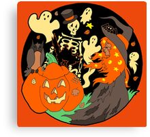 Halloween Witch Skeleton Pumpkin and Ghost Canvas Print