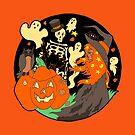 Halloween Witch Skeleton Pumpkin and Ghost by SaradaBoru