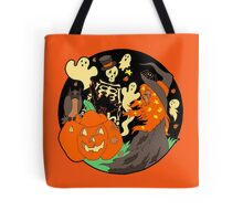 Halloween Witch Skeleton Pumpkin and Ghost Tote Bag