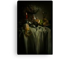 Still life with fruits and fresh flowers Canvas Print
