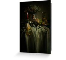 Still life with fruits and fresh flowers Greeting Card