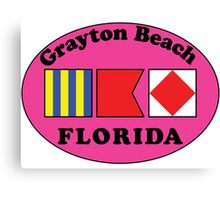 GRAYTON BEACH FLORIDA EURO OVAL NAUTICAL FLAG PINK  2 Canvas Print