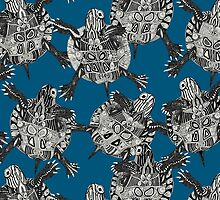 turtle party ocean blue by Sharon Turner