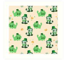 Lucky Citrus Panda and Kitty Pattern Art Print