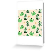 Lucky Citrus Panda and Kitty Pattern Greeting Card
