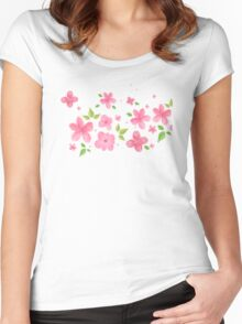 Hand Painted Flowers Women's Fitted Scoop T-Shirt