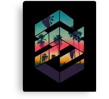 Geometric Sunset beach Canvas Print