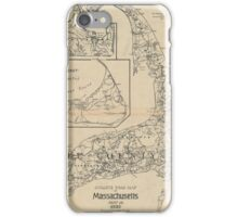 Vintage Cape Cod Cyclist Map (1893) iPhone Case/Skin