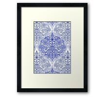 Happy Place Doodle in Cornflower Blue, White & Grey Framed Print