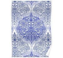 Happy Place Doodle in Cornflower Blue, White & Grey Poster