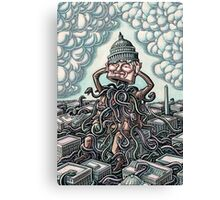 Man on Capitol Lifts Head, Snakes Emerge Canvas Print