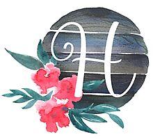 Floral Monogram H Photographic Print