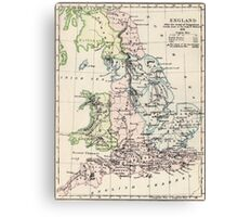 Vintage Map of England (1892) Canvas Print