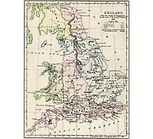 Vintage Map of England (1892) Photographic Print