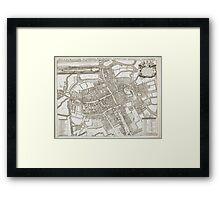 Vintage Map of Oxford England (1675) Framed Print