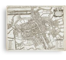 Vintage Map of Oxford England (1675) Canvas Print