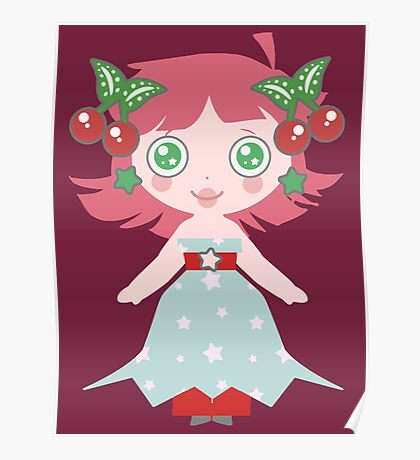 Cute Cherry Girl Poster