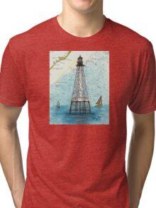 Alligator Reef Lighthouse FL Nautical Chart Peek Tri-blend T-Shirt