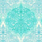 Happy Place Doodle in Mint Green & Aqua by micklyn