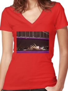 Purple Bridge and water Women's Fitted V-Neck T-Shirt