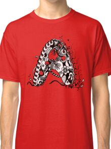 The Letter A Alphabet  Black and White with Transparent Background Classic T-Shirt