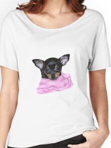 Cute Chihuahua Puppy Portrait No Background Women's Relaxed Fit T-Shirt