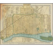 Vintage Map of Detroit Michigan (1895) Photographic Print