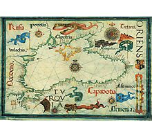 Vintage Map of The Black Sea (1559) Photographic Print