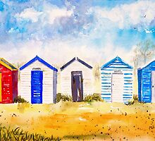 Beach Huts at Southwold by closetpainter