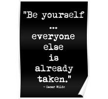 Oscar Wilde Be Yourself White Poster