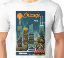 """CHICAGO"" Vintage Travel Advertising Print Unisex T-Shirt"