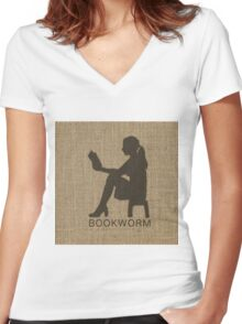 Natural Beige Burlap Girl Reading Book Bookworm in Black Women's Fitted V-Neck T-Shirt