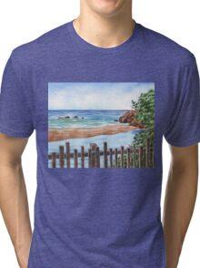 Ocean Shore Seascape In Watercolor Tri-blend T-Shirt