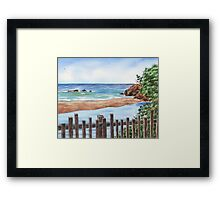 Ocean Shore Seascape In Watercolor Framed Print