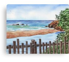 Ocean Shore Seascape In Watercolor Canvas Print