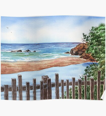 Ocean Shore Seascape In Watercolor Poster