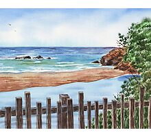 Ocean Shore Seascape In Watercolor Photographic Print