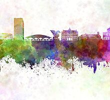Ljubljana skyline in watercolor background by paulrommer