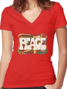 Vintage Psychedelic Peace and Love Women's Fitted V-Neck T-Shirt