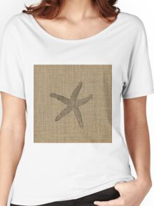 Natural Burlap Fadded Starfish in Black  Women's Relaxed Fit T-Shirt