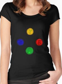 x box buttons Women's Fitted Scoop T-Shirt