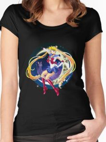 Sailor Moon and Luna Anime Version Women's Fitted Scoop T-Shirt