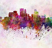 Minneapolis skyline in watercolor background by paulrommer
