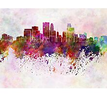 Minneapolis skyline in watercolor background Photographic Print