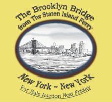 NYC- Brooklyn Bridge as drawn from Staten Island Ferry Kids Tee
