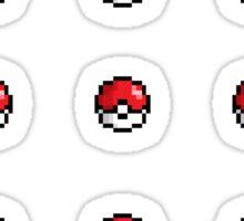 8bit Pokeballs - red Sticker