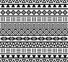 Aztec Influence Pattern II Black on White by NataliePaskell