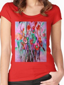 """ABSTRACT PSYCHEDELIC FLOWERS"" Whimsical Print Women's Fitted Scoop T-Shirt"