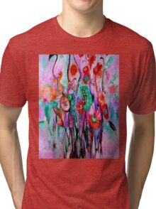 """""""ABSTRACT PSYCHEDELIC FLOWERS"""" Whimsical Print Tri-blend T-Shirt"""