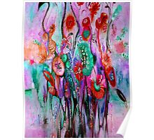 """""""ABSTRACT PSYCHEDELIC FLOWERS"""" Whimsical Print Poster"""